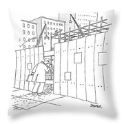 A Man With A Briefcase Looks Downwards Throw Pillow