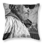 A Man With A Purpose Monochrome Throw Pillow