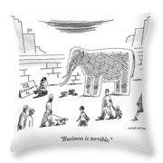 A Man With An Elephant Speaks On The Phone Throw Pillow