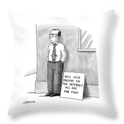 A Man With Glasses And A Tie Is Standing Throw Pillow