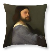 A Man With Quilted Sleeve Throw Pillow