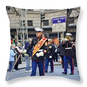 A Marine Band Marching In The 2009 New York St. Patrick Day Parade Throw Pillow