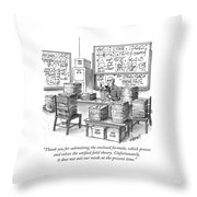A Mathematician In A Room Full Of Stacked Papers Throw Pillow