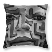 A Maze Ing Face Black And White Throw Pillow