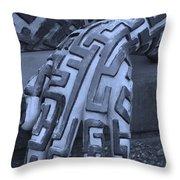 A Maze Ing Hand Cyan Throw Pillow