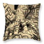 A Maze Ing Man 4 Sepia Throw Pillow