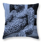 A Maze Ing Man 5 Cyan Throw Pillow