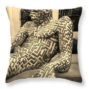 A Maze Ing Man 5 Sepia Throw Pillow