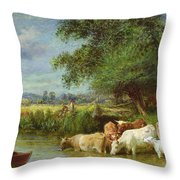 A Midsummer's Day On The Thames  Throw Pillow