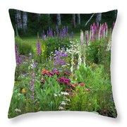 A Mixture Of Flowers Bloom In Hillside Throw Pillow