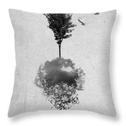 Tree Birds Clouds Abstract Paint Drips Throw Pillow