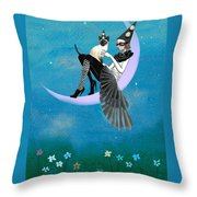 A Moon Cat  Throw Pillow