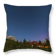 A Moonlit Nightscape Taken In Banff Throw Pillow