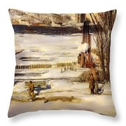 A Morning Snow On The Hudson River Throw Pillow