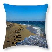 A Morning Walk On A Dominican Beach Throw Pillow