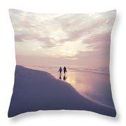 A Morning Walk On The Beach Throw Pillow