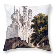 A Mosque At Gazipoor Throw Pillow by William Hodges