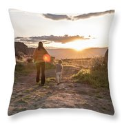 A Mother And Child Hike At Sunset Throw Pillow