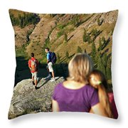 A Mother And Daughter Share A Tender Throw Pillow