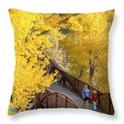 A Mother And Daughter Walking Throw Pillow