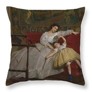 A Mother And Her Young Daughter Throw Pillow