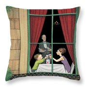 A Mother And Son Enjoy A Meal Together Throw Pillow