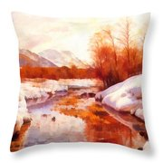 A Mountain Torrent In A Winter Landscape Throw Pillow