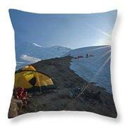 A Mountaineer Contemplates The Sun Throw Pillow