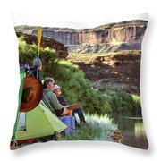 A Multi-generational Family Of Boaters Throw Pillow