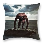 A Muscular Man In The Starting Position Throw Pillow