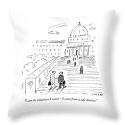 A Naked Congressman Walks Up The Steps Throw Pillow