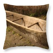A Native American Fishing Boat Throw Pillow