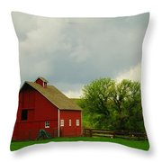 A Neat Red Barn Near Sheridan Wyoming Throw Pillow