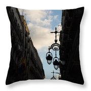 A Necklace Of Barcelona Streetlamps Throw Pillow