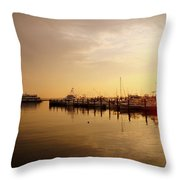 A New Day Beings On The Water - Atlantic Highlands  - Nj Throw Pillow