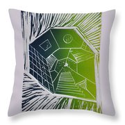 A New Dimension Blue And Green Linocut Throw Pillow