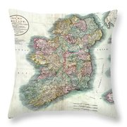 A New Map Of Ireland 1799 Throw Pillow