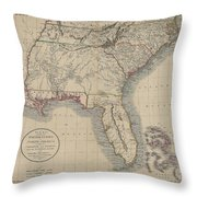 A New Map Of Part Of The United States Of North America Throw Pillow