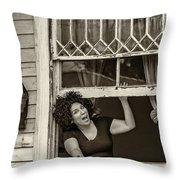 A New Orleans Greeting Sepia Throw Pillow