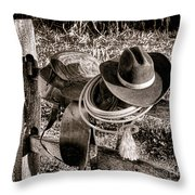 A New Workday For The Cowboy Throw Pillow