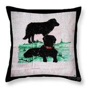A Newfoundland Dog And A Labrador Retriever Throw Pillow
