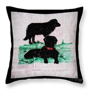 A Newfoundland Dog And A Labrador Retriever Throw Pillow