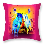 A Nice Ride On The Furry Ponies  Throw Pillow