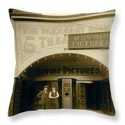 A Nickelodean Theater Throw Pillow