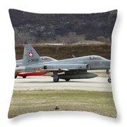A Northrop F-5e Tiger Of The Swiss Air Throw Pillow