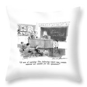 A Note Of Warning: The Following Report Throw Pillow