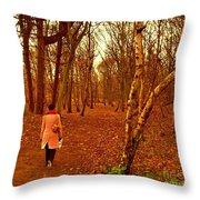 A November Stroll Through Formby Woods Throw Pillow
