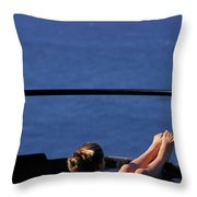 A Nude Woman In A Hot Spring Throw Pillow