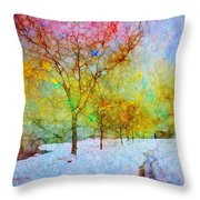 A Painted Winter Throw Pillow