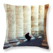 A Painting Alone Among The Vatican Columns Throw Pillow